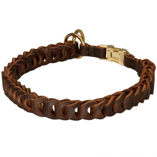 English Bulldog Choke Leather Collar Braided