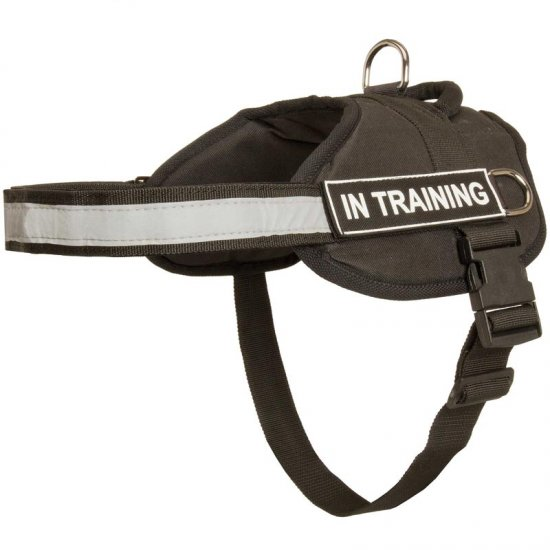Nylon English Bulldog Harness with Reflective Strap for Training, Walking, Police Service, SAR and More