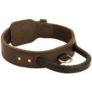 Extra Durable Leather English Bulldog Collar with Handle for Attack Training