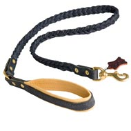 Braided Handcrafted Leather English Bulldog Leash with Nappa Leather Lined Handle