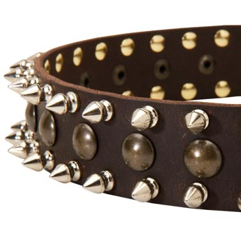 English Bulldog Leather Collar with Hand Set Spikes