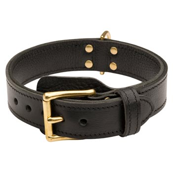 English Bulldog  Leather Collar with Easy in Use Buckle