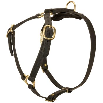 Leather English Bulldog Harness Light Weight Y-Shaped for Tracking Dog