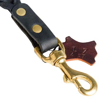 Solid Snap Hook Hand Riveted to the Leather English Bulldog Leash