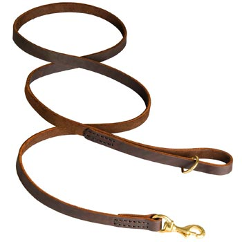 Classic Stitched Leather English Bulldog Leash