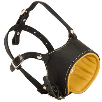 Adjustable English Bulldog Muzzle Padded with Soft Nappa Leather for Anti-Barking Training